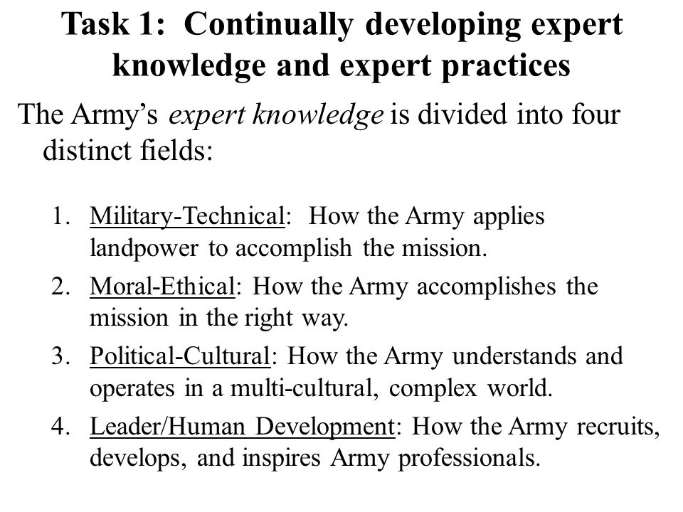The Army's expert knowledge is divided into four distinct fields: 1.Military-Technical: How the Army applies landpower to accomplish the mission. 2.Mo