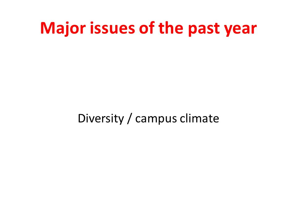 Major issues of the past year Diversity / campus climate