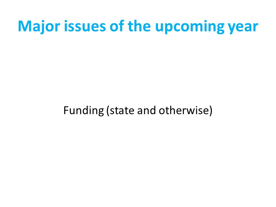 Major issues of the upcoming year Funding (state and otherwise)