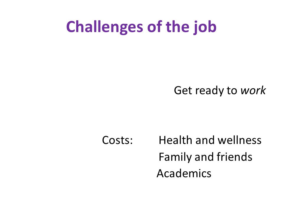 Challenges of the job Get ready to work Costs:Health and wellness Family and friends Academics