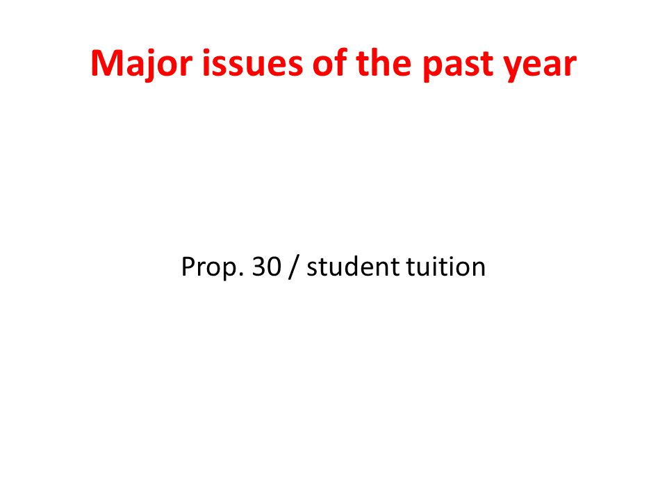 Major issues of the past year Prop. 30 / student tuition