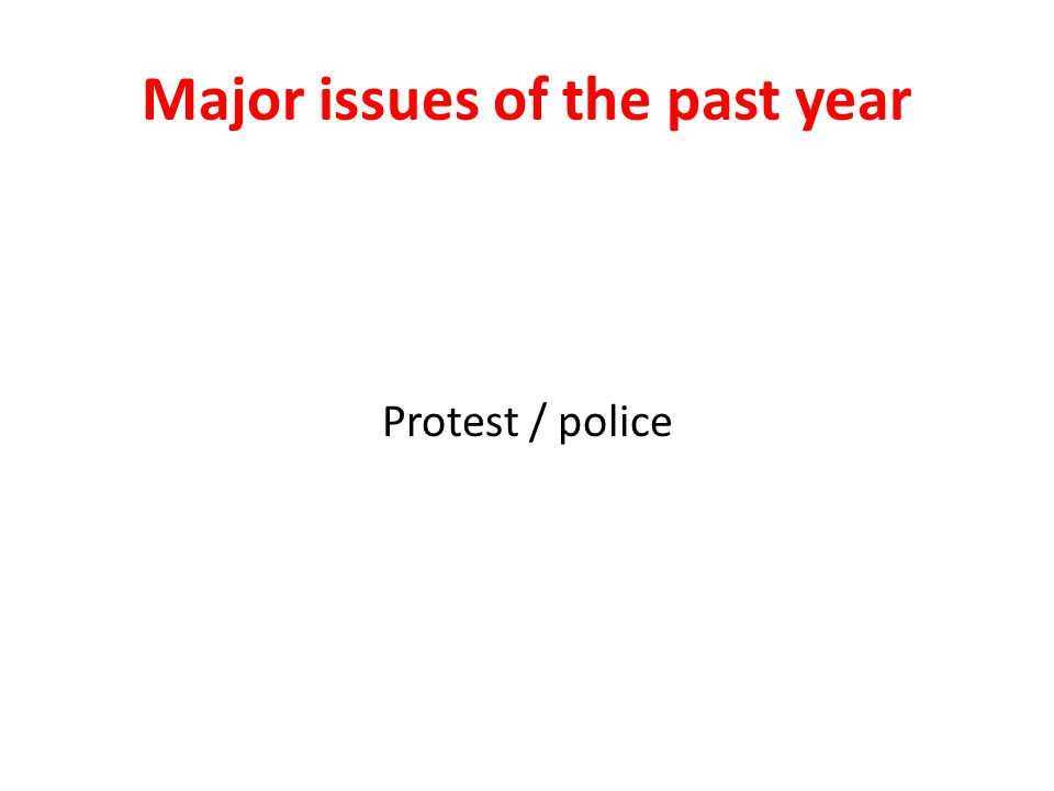 Major issues of the past year Protest / police