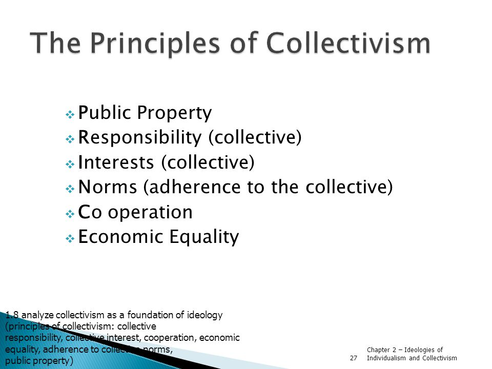 Chapter 2 – Ideologies of Individualism and Collectivism 27  Public Property  Responsibility (collective)  Interests (collective)  Norms (adherence to the collective)  Co operation  Economic Equality 1.8 analyze collectivism as a foundation of ideology (principles of collectivism: collective responsibility, collective interest, cooperation, economic equality, adherence to collective norms, public property)