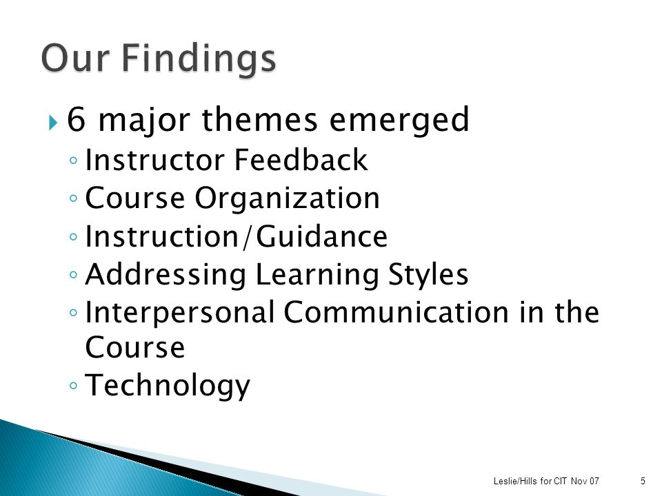  6 major themes emerged ◦ Instructor Feedback ◦ Course Organization ◦ Instruction/Guidance ◦ Addressing Learning Styles ◦ Interpersonal Communication in the Course ◦ Technology Leslie/Hills for CIT Nov 075
