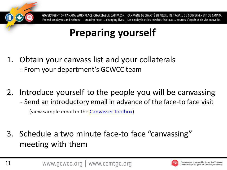 Preparing yourself 1.Obtain your canvass list and your collaterals - From your department's GCWCC team 2.