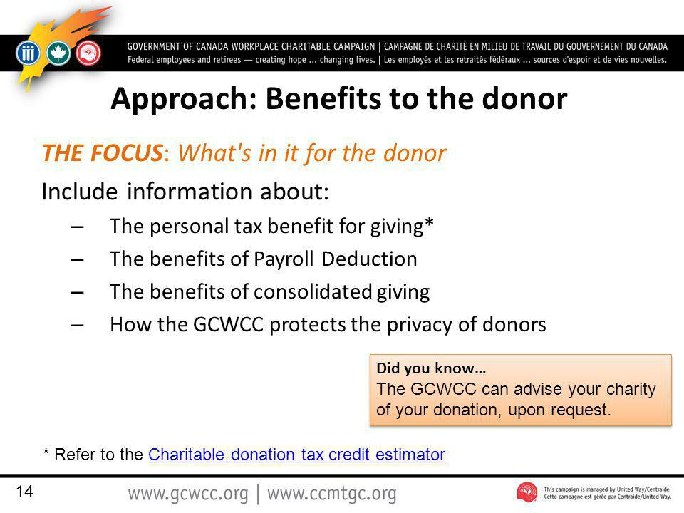 Approach: Benefits to the donor THE FOCUS: What s in it for the donor Include information about: – The personal tax benefit for giving* – The benefits of Payroll Deduction – The benefits of consolidated giving – How the GCWCC protects the privacy of donors 14 * Refer to the Charitable donation tax credit estimatorCharitable donation tax credit estimator Did you know… The GCWCC can advise your charity of your donation, upon request.