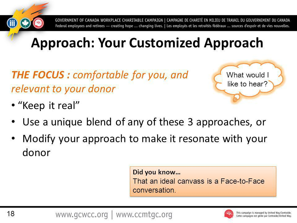 Approach: Your Customized Approach THE FOCUS : comfortable for you, and relevant to your donor Keep it real Use a unique blend of any of these 3 approaches, or Modify your approach to make it resonate with your donor 18 Did you know… That an ideal canvass is a Face-to-Face conversation.