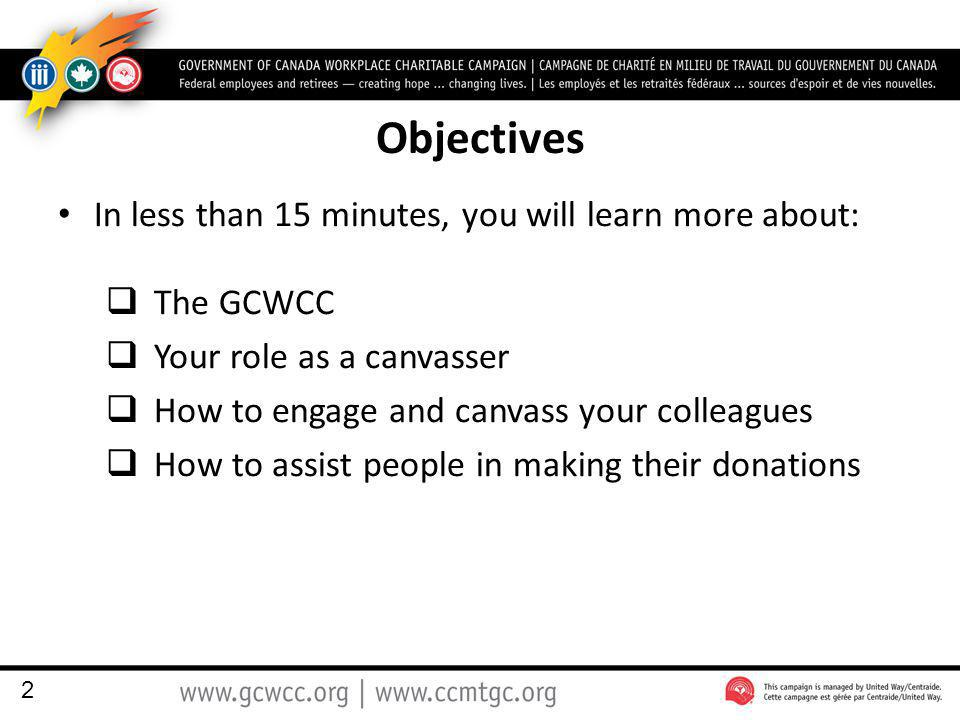 Objectives In less than 15 minutes, you will learn more about:  The GCWCC  Your role as a canvasser  How to engage and canvass your colleagues  How to assist people in making their donations 2