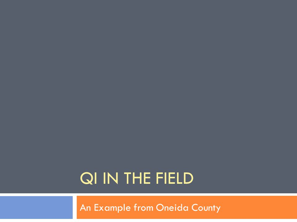 QI IN THE FIELD An Example from Oneida County