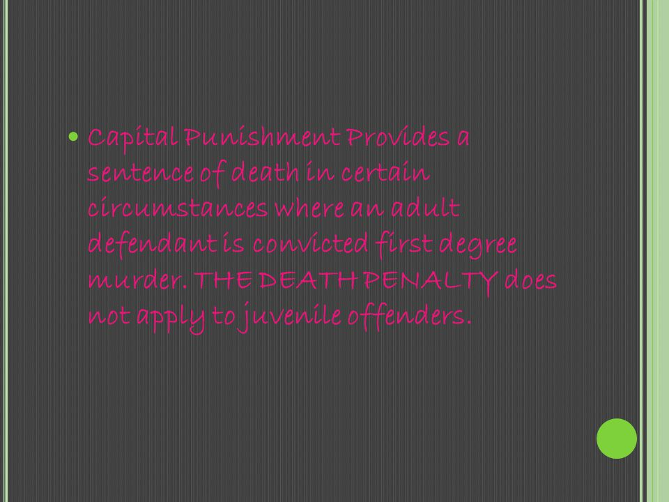 Capital punishment is the killing of a person as a punishment for an offense. Crimes that can result in a death penalty are known as capital crimes or