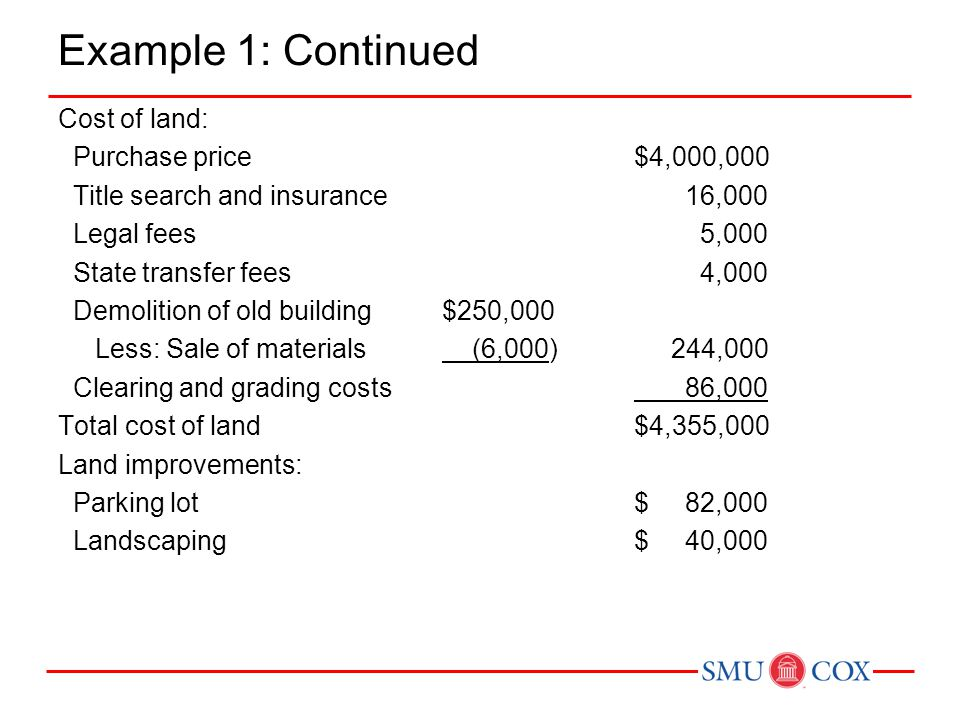 Example 1: Continued Cost of land: Purchase price$4,000,000 Title search and insurance 16,000 Legal fees 5,000 State transfer fees 4,000 Demolition of