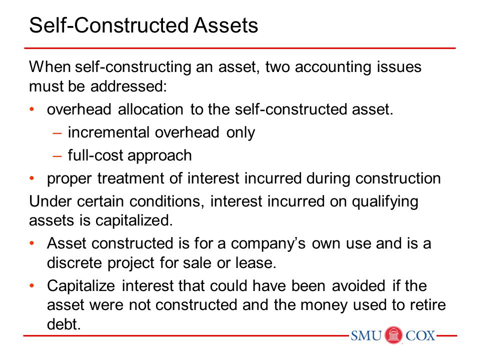 Self-Constructed Assets When self-constructing an asset, two accounting issues must be addressed: overhead allocation to the self-constructed asset. –