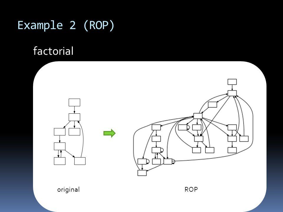 Example 2 (ROP) o originalROP factorial