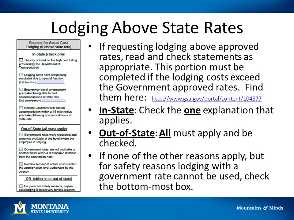 Lodging Above State Rates If requesting lodging above approved rates, read and check statements as appropriate. This portion must be completed if the