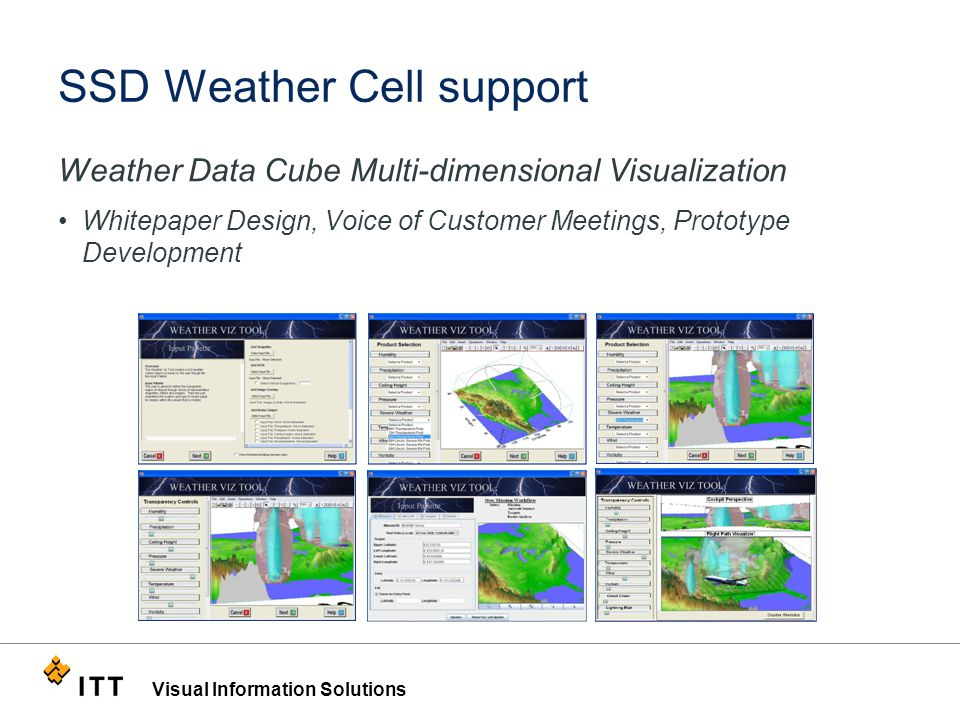 Visual Information Solutions SSD Weather Cell support Weather Data Cube Multi-dimensional Visualization Whitepaper Design, Voice of Customer Meetings, Prototype Development