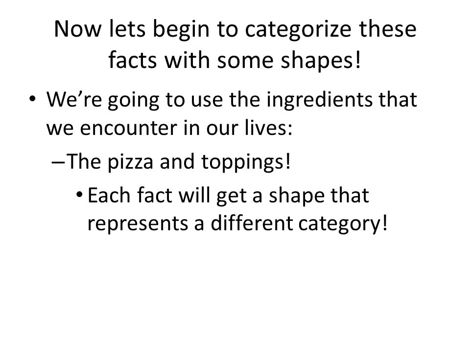 Now lets begin to categorize these facts with some shapes.