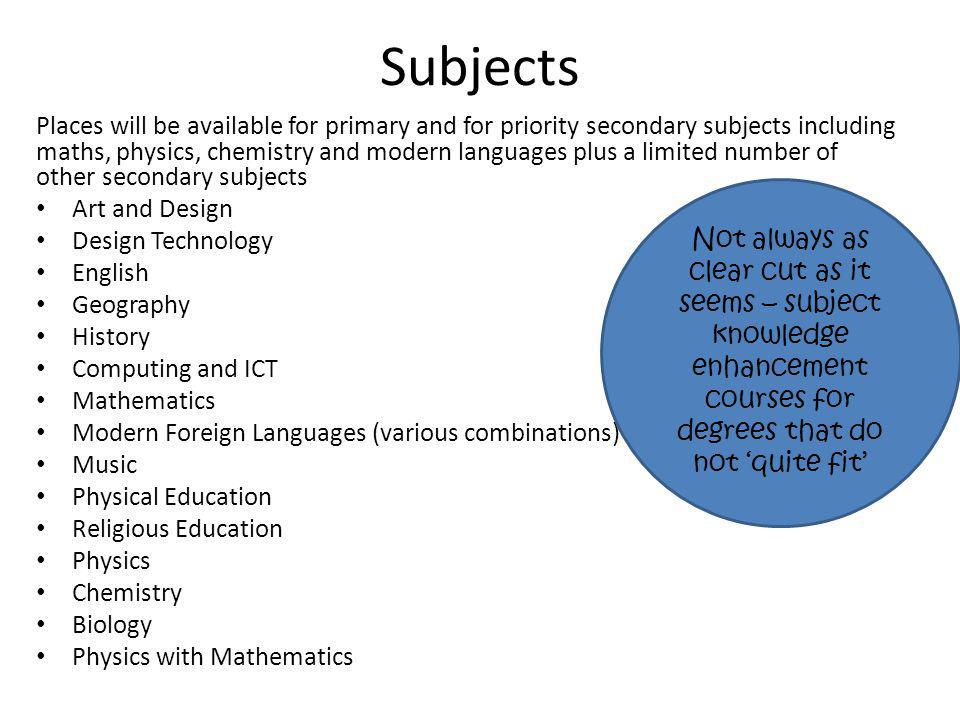 Subjects Places will be available for primary and for priority secondary subjects including maths, physics, chemistry and modern languages plus a limi