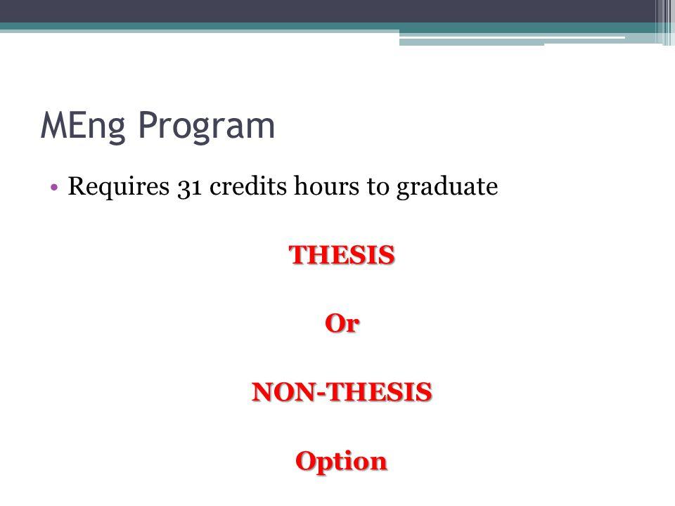 MEng Program Requires 31 credits hours to graduateTHESISOrNON-THESISOption