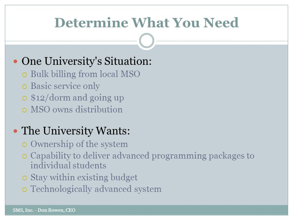 Determine What You Need One University s Situation:  Bulk billing from local MSO  Basic service only  $12/dorm and going up  MSO owns distribution The University Wants:  Ownership of the system  Capability to deliver advanced programming packages to individual students  Stay within existing budget  Technologically advanced system SMS, Inc.