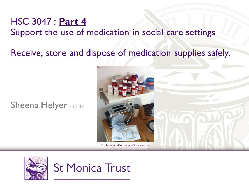 Teamwork There may be a number of different people and agencies involved in supporting a vulnerable person at home so there needs to be a high level of coordination and liaison to prevent misunderstandings and mistakes with medication.