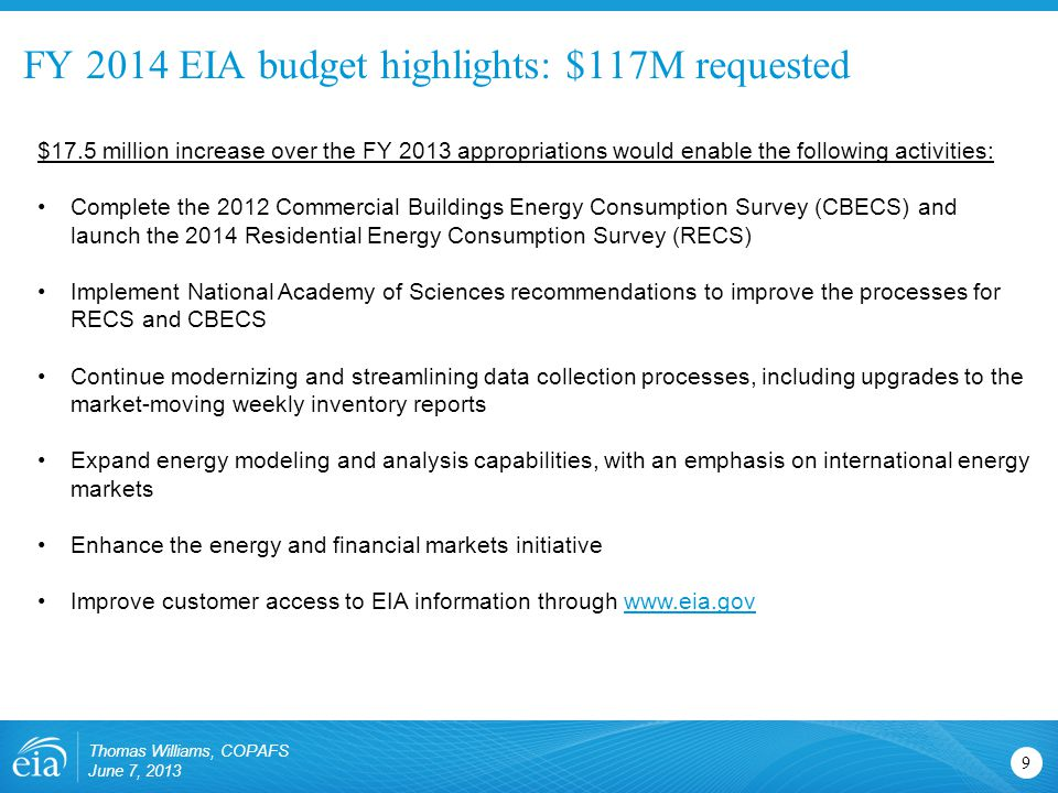 FY 2014 EIA budget highlights: $117M requested 9 $17.5 million increase over the FY 2013 appropriations would enable the following activities: Complete the 2012 Commercial Buildings Energy Consumption Survey (CBECS) and launch the 2014 Residential Energy Consumption Survey (RECS) Implement National Academy of Sciences recommendations to improve the processes for RECS and CBECS Continue modernizing and streamlining data collection processes, including upgrades to the market-moving weekly inventory reports Expand energy modeling and analysis capabilities, with an emphasis on international energy markets Enhance the energy and financial markets initiative Improve customer access to EIA information through www.eia.govwww.eia.gov Thomas Williams, COPAFS June 7, 2013