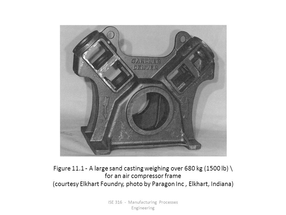 ISE 316 - Manufacturing Processes Engineering Figure 11.1 ‑ A large sand casting weighing over 680 kg (1500 lb) \ for an air compressor frame (courtesy Elkhart Foundry, photo by Paragon Inc, Elkhart, Indiana)