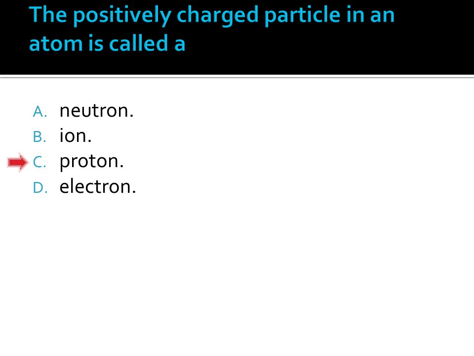 A. neutron. B. ion. C. proton. D. electron.