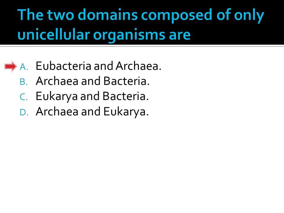 A. Eubacteria and Archaea. B. Archaea and Bacteria. C. Eukarya and Bacteria. D. Archaea and Eukarya.