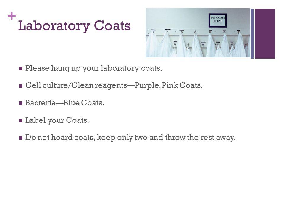 + Laboratory Coats Please hang up your laboratory coats.