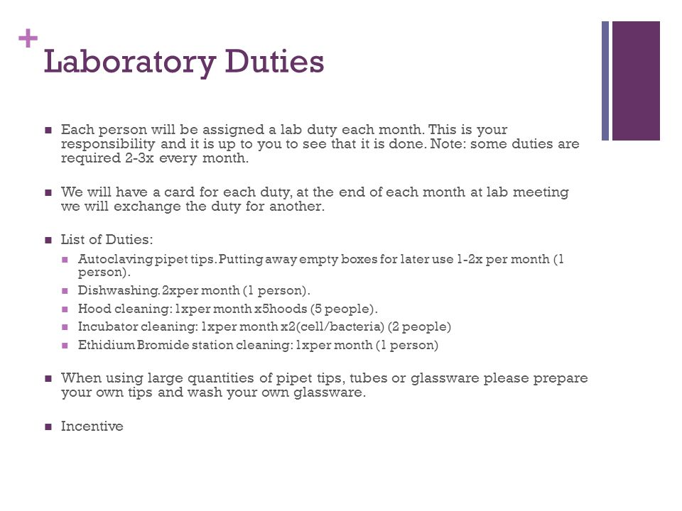 + Laboratory Duties Each person will be assigned a lab duty each month.