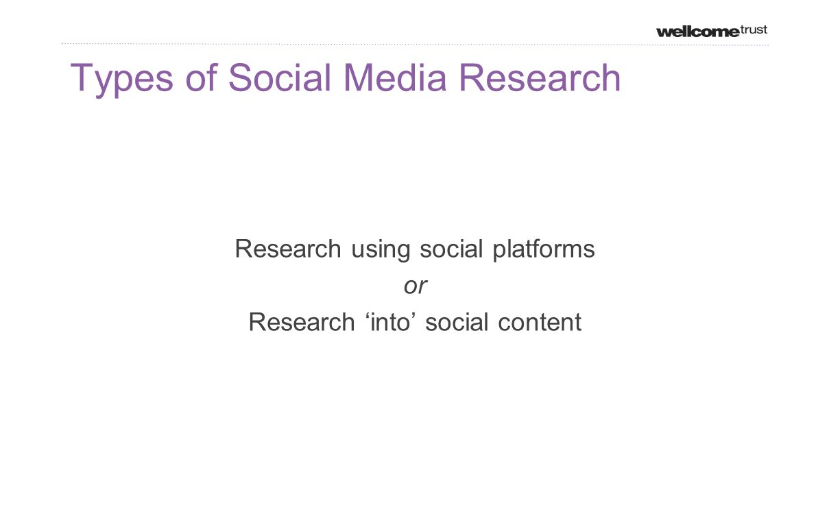 Types of Social Media Research Research using social platforms or Research 'into' social content