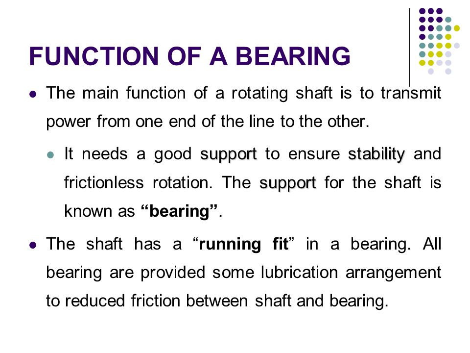 FUNCTION OF A BEARING The main function of a rotating shaft is to transmit power from one end of the line to the other. supportstability support It ne