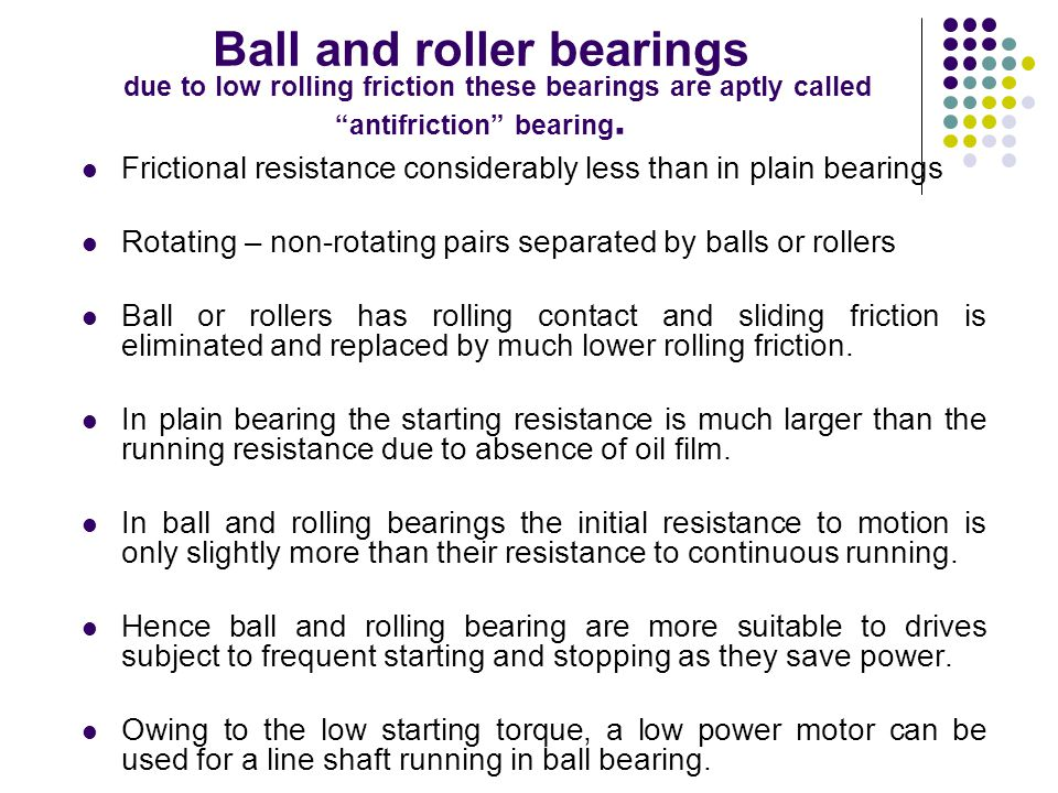 """Ball and roller bearings due to low rolling friction these bearings are aptly called """"antifriction"""" bearing. Frictional resistance considerably less t"""