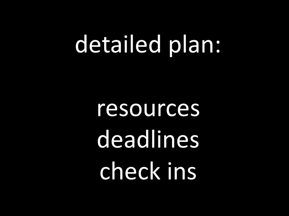 detailed plan: resources deadlines check ins