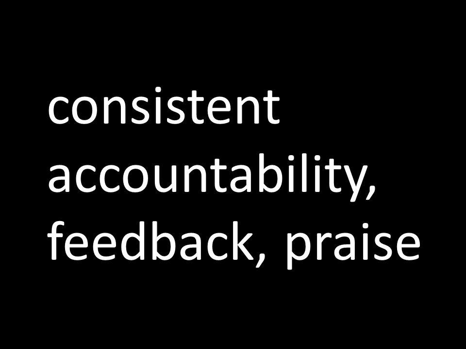 consistent accountability, feedback, praise