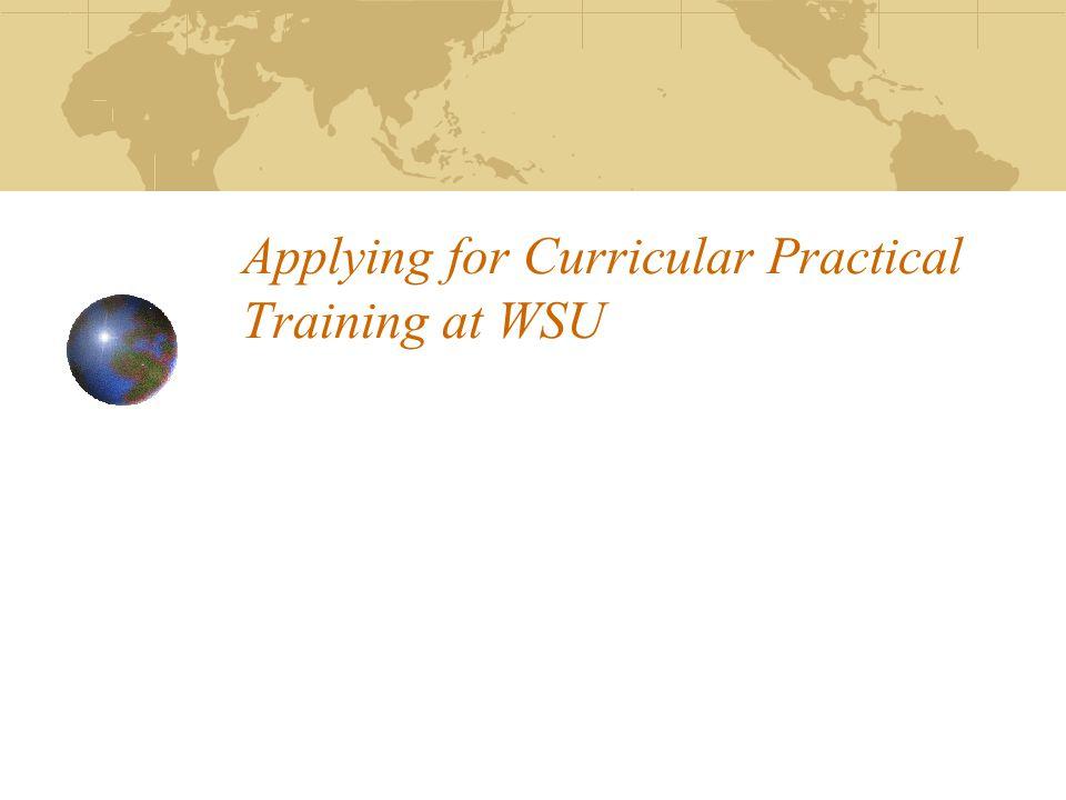 Applying for Curricular Practical Training at WSU