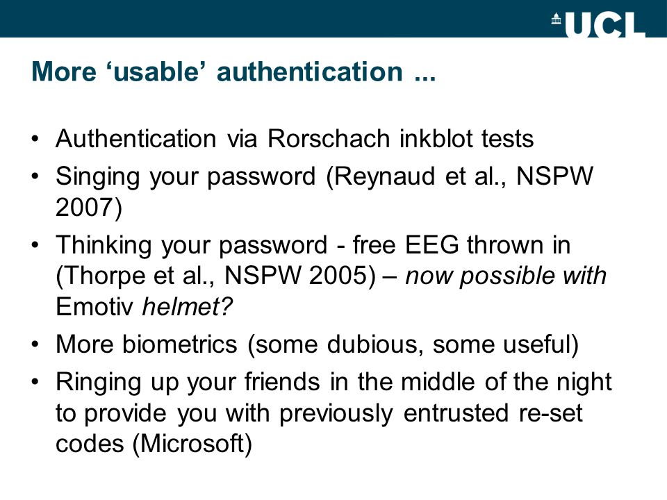 More 'usable' authentication...