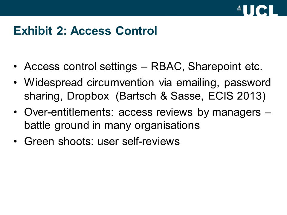 Exhibit 2: Access Control Access control settings – RBAC, Sharepoint etc. Widespread circumvention via emailing, password sharing, Dropbox (Bartsch &