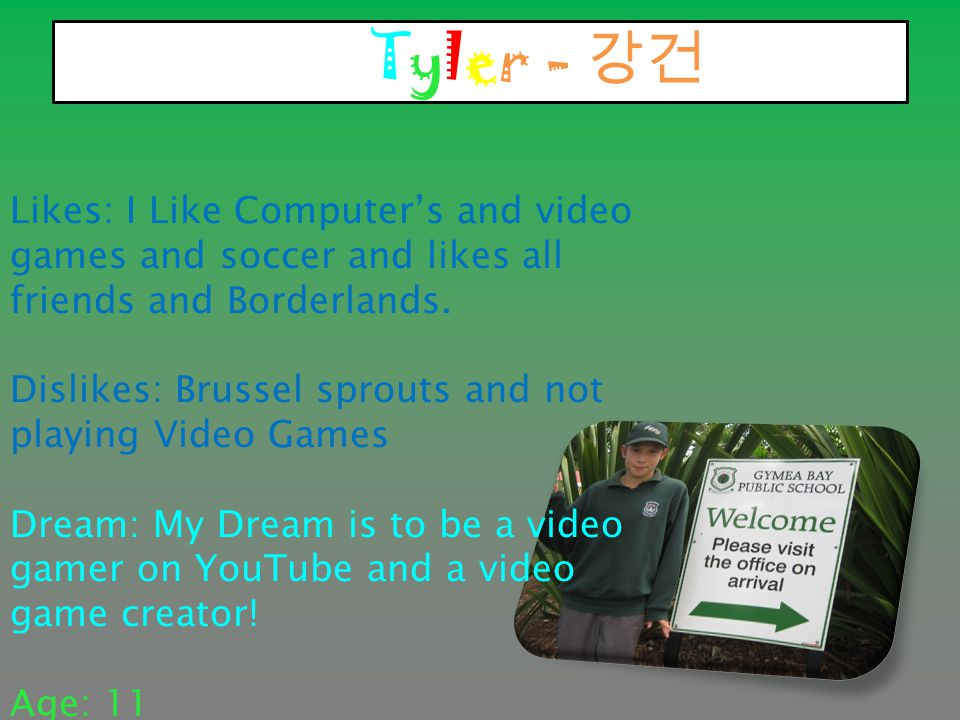 Tyler - 강건 Likes: I Like Computer's and video games and soccer and likes all friends and Borderlands.