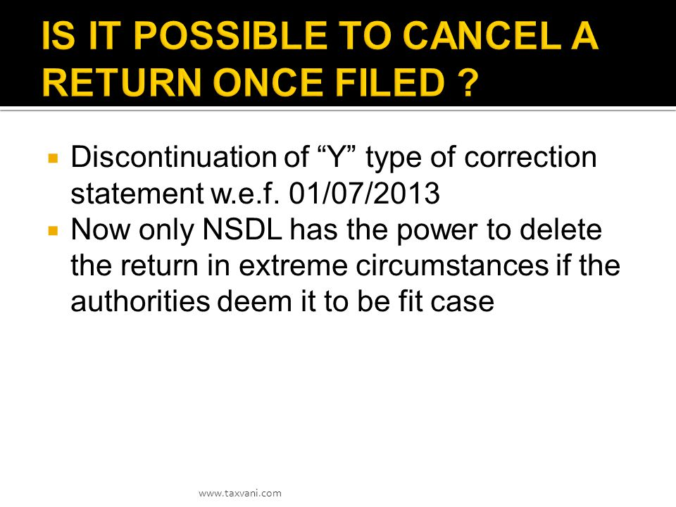 The respective TANs with Defaults in their TDS Statements can be pursued to get the above resolved by taking following actions:  Carrying out necessary corrections in the records reported in the TDS statements,  Paying the outstanding demand and  Submitting the Correction Statements at the earliest.