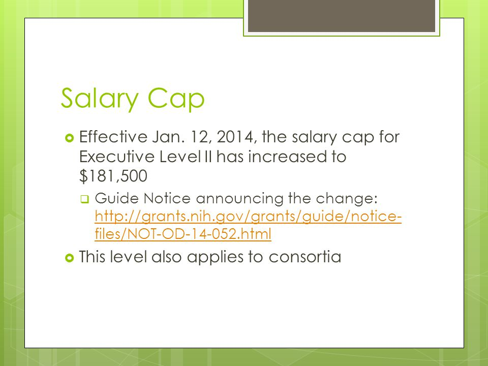 Salary Cap  Effective Jan.