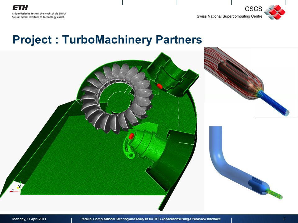 Project : TurboMachinery Partners Monday, 11 April 20115Parallel Computational Steering and Analysis for HPC Applications using a ParaView Interface