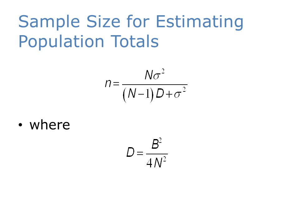 Sample Size for Estimating Population Totals where