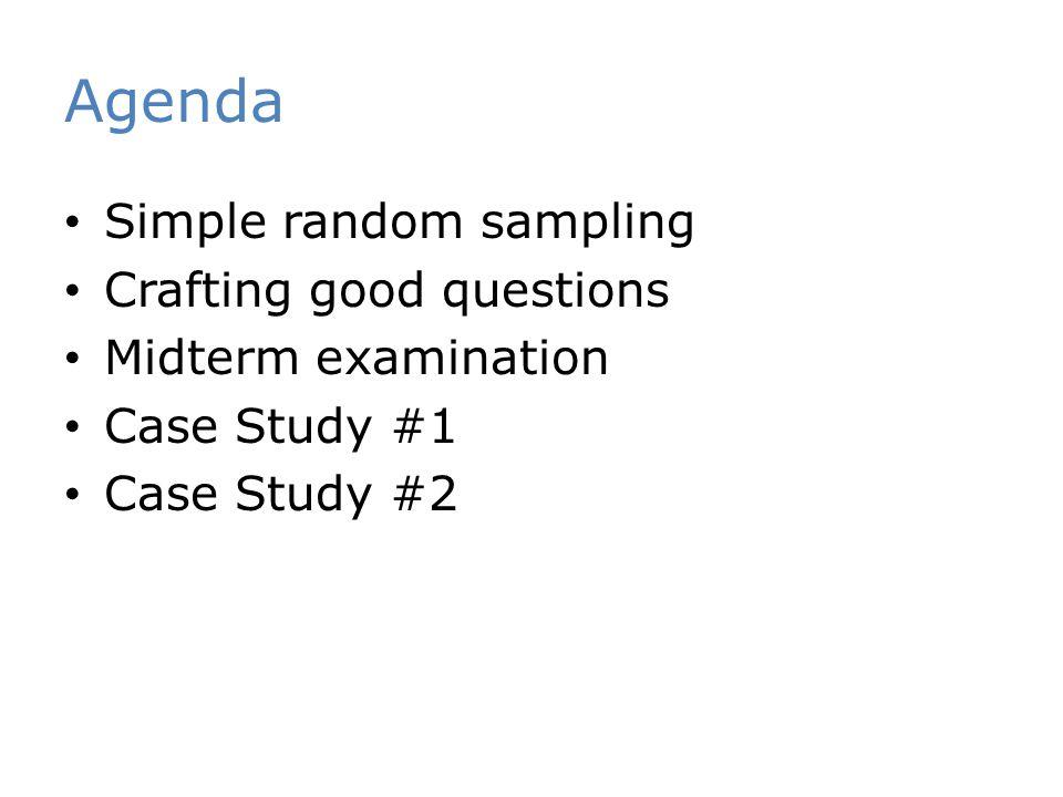 Agenda Simple random sampling Crafting good questions Midterm examination Case Study #1 Case Study #2