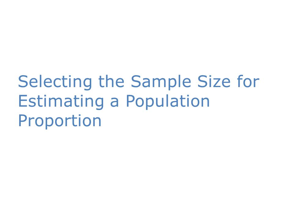 Selecting the Sample Size for Estimating a Population Proportion