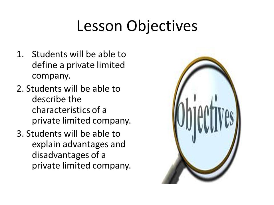 Lesson Objectives 1.Students will be able to define a private limited company.