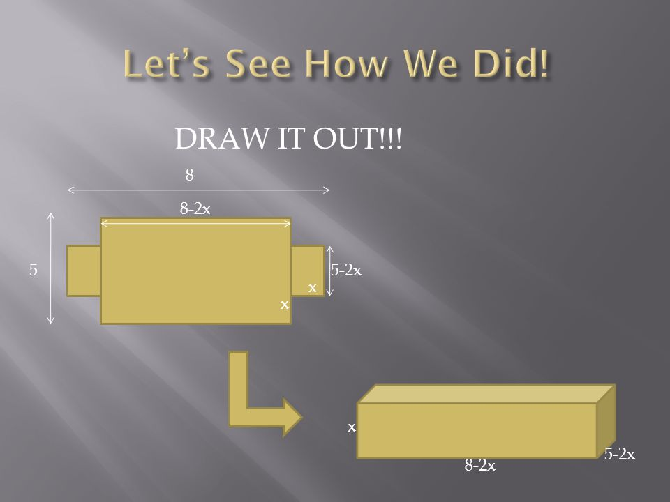 DRAW IT OUT!!! x x x 8-2x 5-2x 8 5 8-2x 5-2x