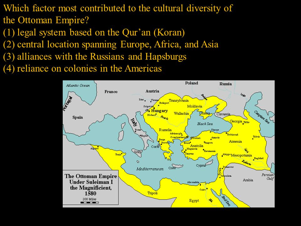 Which factor most contributed to the cultural diversity of the Ottoman Empire.