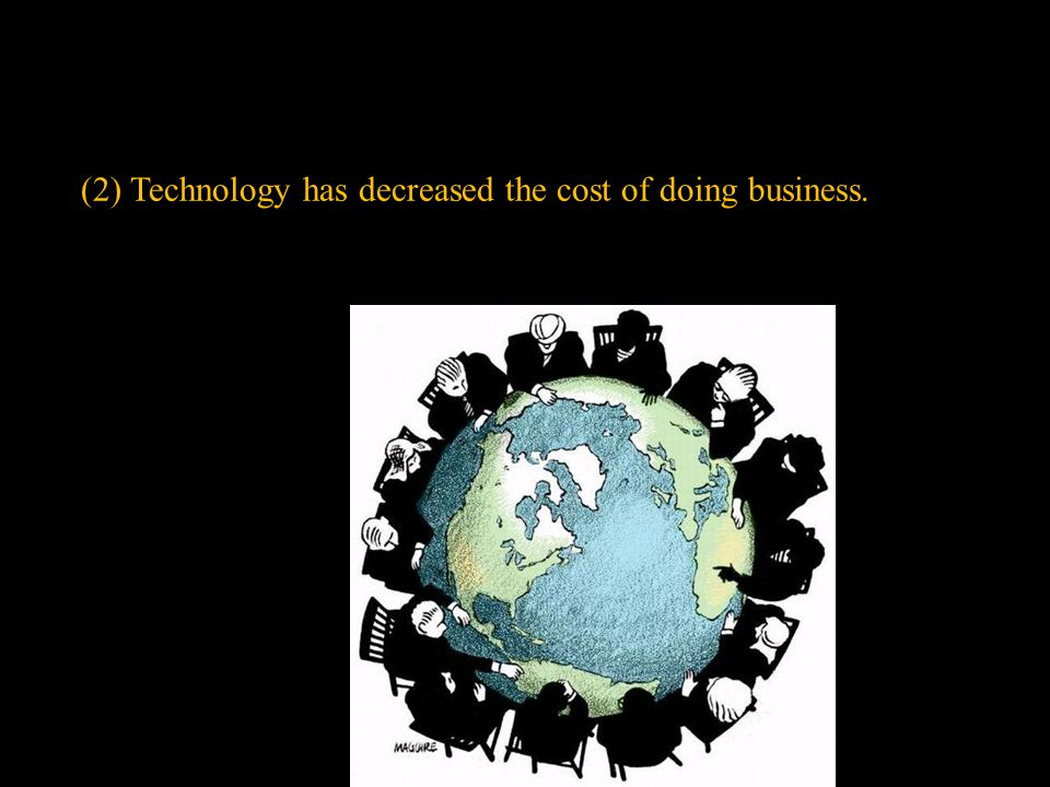 (2) Technology has decreased the cost of doing business.