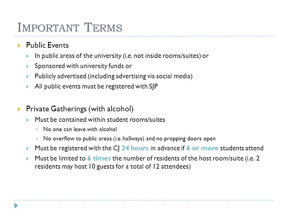 I MPORTANT T ERMS  Public Events  In public areas of the university (i.e.